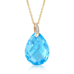 9.00 Carat Blue Topaz Pendant Necklace With Diamonds in 14kt Yellow Gold, , default
