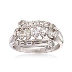 C. 2000 Vintage .85 ct. t.w. Multi-Cut Diamond Ring in 14kt White Gold. Size 6.25, , default