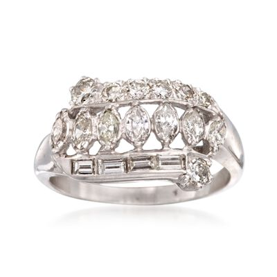 C. 2000 Vintage .85 ct. t.w. Multi-Cut Diamond Ring in 14kt White Gold, , default