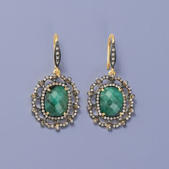 8.00 ct. t.w. Emerald and 1.65 ct. t.w. Diamond Drop Earrings in 18kt Yellow Gold Over Sterling, , default