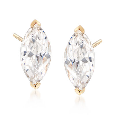 1.00 ct. t.w. Marquise CZ Stud Earrings in 14kt Yellow Gold, , default