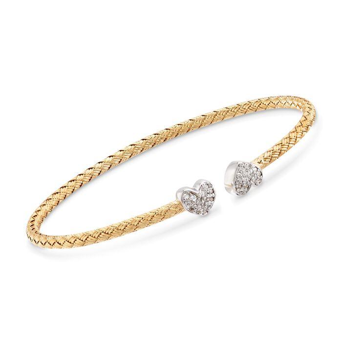 """Charles Garnier """"Adele"""" .25 ct. t.w. CZ Heart Cuff Bracelet in Two-Tone Sterling Silver. 7"""", , default"""