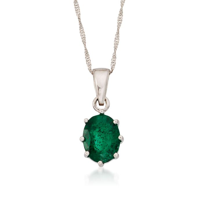"1.20 Carat Emerald Pendant Necklace in 14kt White Gold  . 16"", , default"