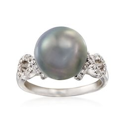 11-11.5mm Black Cultured Tahitian Pearl Ring With .28 ct. t.w. Diamonds in 14kt White Gold, , default