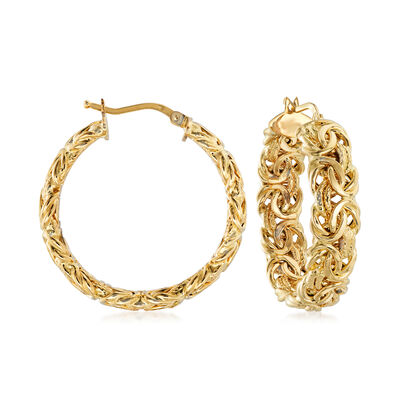 Italian 18kt Yellow Gold Byzantine Hoop Earrings, , default