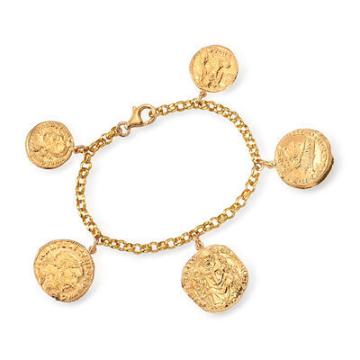 Italian Replica Ancient Coin Bracelet in 18kt Gold Over Sterling, , default