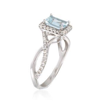 .80 Carat Aquamarine and .32 ct. t.w. Diamond Ring in 14kt White Gold, , default
