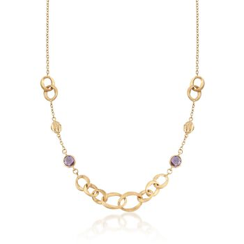 3.00 ct. t.w. Amethyst and Oval Link Necklace in 14kt Yellow Gold, , default
