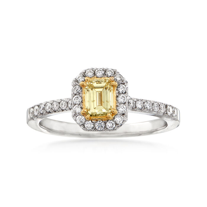 C. 1990 Vintage 1.06 ct. t.w. Yellow and White Diamond Halo Ring in 18kt White Gold. Size 7.5