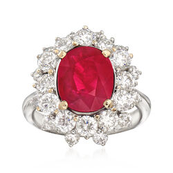 2.63 Carat Ruby and 1.95 ct. t.w. Diamond Ring in 18kt White Gold, , default