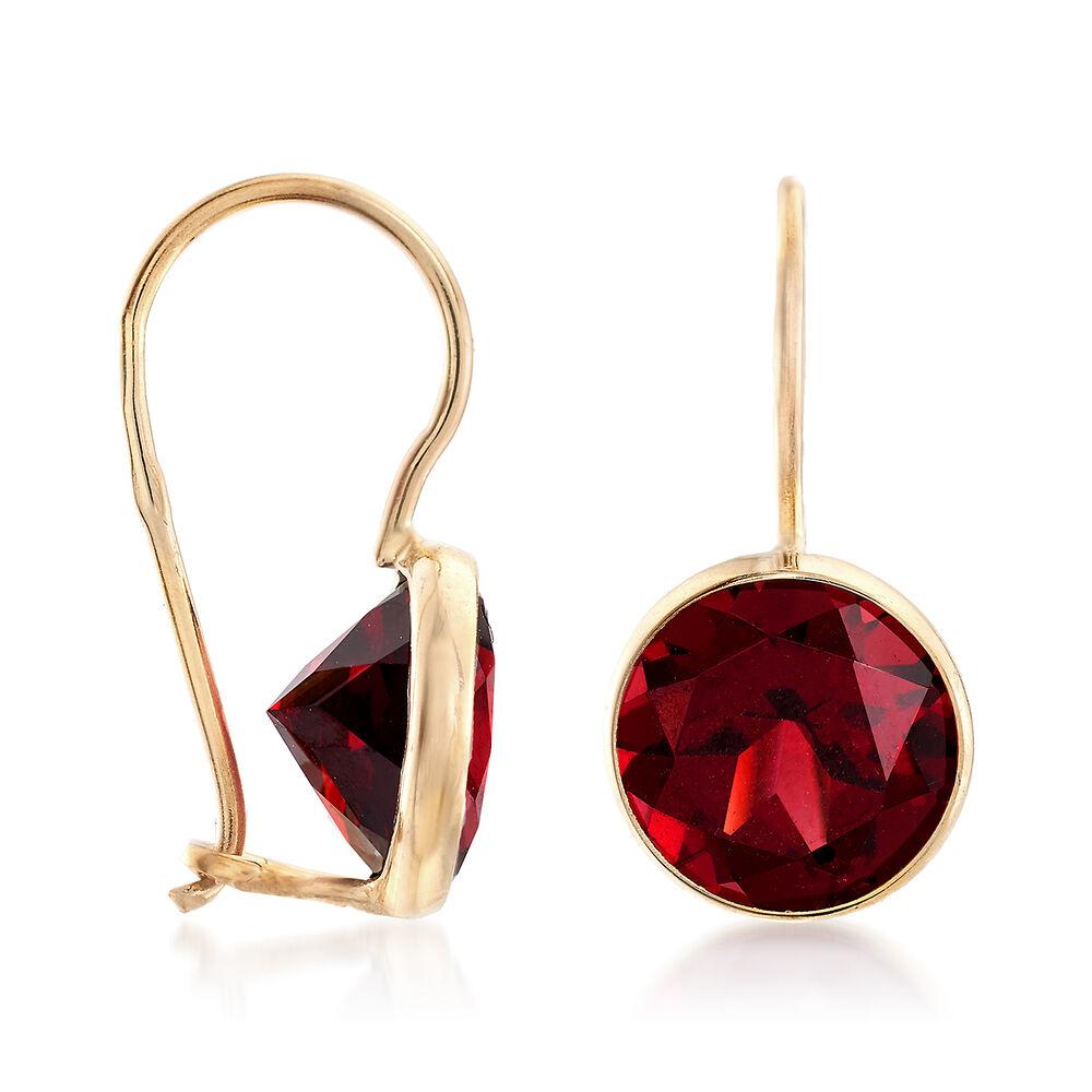 T W Garnet Drop Earrings In 14kt Yellow Gold