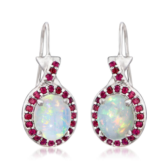 Ethiopian Opal and .70 ct. t.w. Ruby Drop Earrings in Sterling Silver, , default