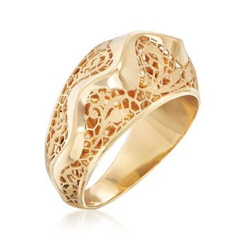 Italian 18kt Yellow Gold Floral Openwork Wave Ring, , default