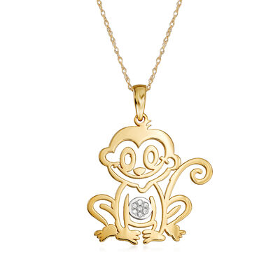 14kt Yellow Gold Monkey Pendant Necklace with Diamond Accents