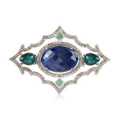 12.00 Carat Sapphire, 2.38 ct. t.w. Emerald and 1.20 ct. t.w. Champagne Diamond Pin in Sterling Silver, , default