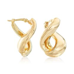"14kt Yellow Gold Twisted Hoop Earrings. 3/4"", , default"