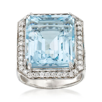 16.00 Carat Aquamarine and .84 ct. t.w. Diamond Ring in 14kt White Gold, , default
