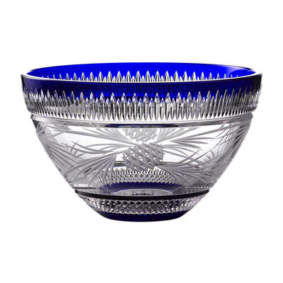 "Waterford Crystal ""Master Craft"" Cobalt Christmas Bowl"