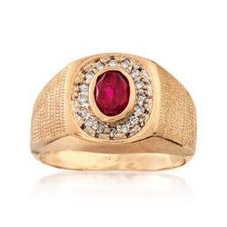 C. 1970 Vintage .85 Carat Ruby and .20 ct. t.w. Diamond Ring in 10kt Yellow Gold, , default