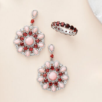 Pink Opal, 4.30 ct. t.w. Garnet and 2.70 ct. t.w. White Topaz Circle Drop Earrings in Sterling Silver
