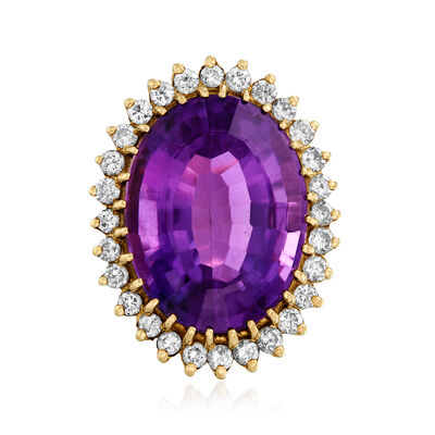 C. 1960 Vintage 21.50 Carat Amethyst and 1.10 ct. t.w. Diamond Ring in 14kt Yellow Gold, , default
