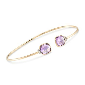 "3.90 ct. t.w. Amethyst Cuff Bracelet in 14kt Yellow Gold. 8"", , default"