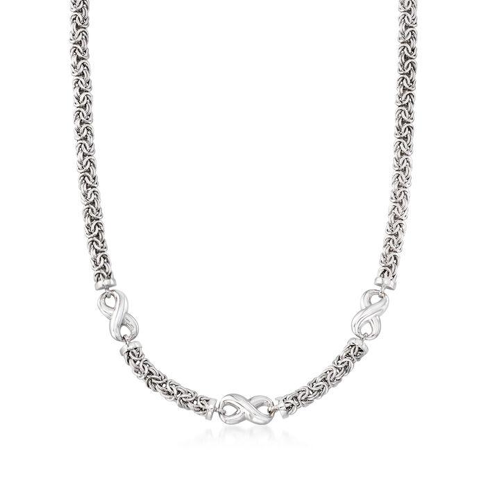Sterling Silver Byzantine Infinity Station Necklace