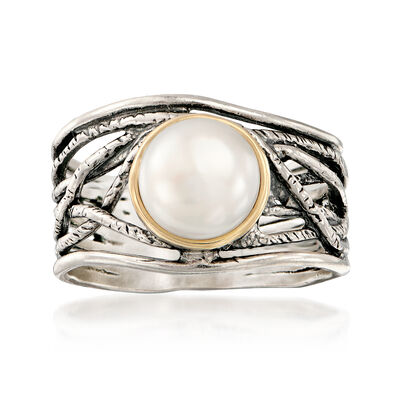8mm Cultured Pearl Openwork Ring in Sterling Silver with 14kt Yellow Gold, , default