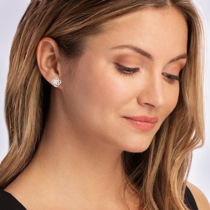 .10 ct. t.w. Diamond Flower Earrings in Sterling Silver