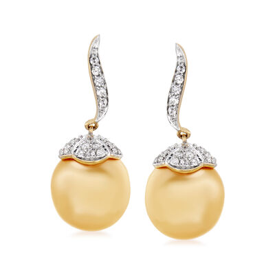 11-11.5mm Golden Cultured South Sea Pearl and .45 ct. t.w. Diamond Drop Earrings, , default