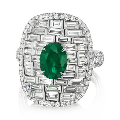 3.30 ct. t.w. Diamond and 1.80 Carat Emerald Ring in 18kt White Gold