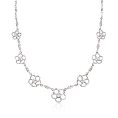3.60 ct. t.w. Diamond Flower Station Necklace in 14kt White Gold, , default