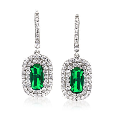 Simulated Emerald and 1.50 ct. t.w. CZ Drop Earrings in Sterling Silver, , default