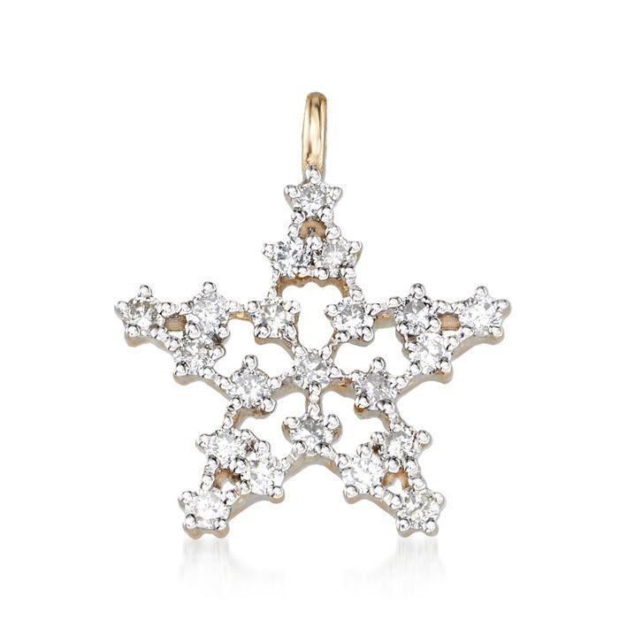.33 ct. t.w. Diamond Star Pendant in 14kt Yellow Gold, , default