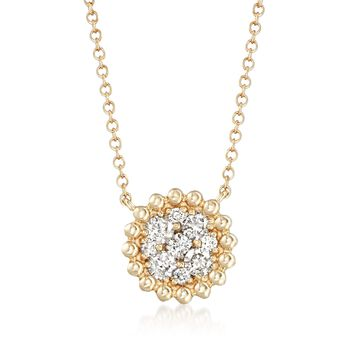 .43 ct. t.w. Diamond Cluster Necklace in 14kt Yellow Gold