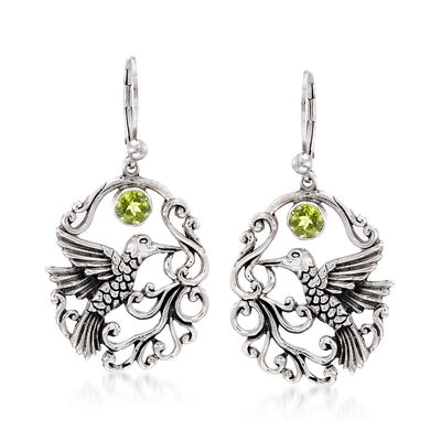 .90 ct. t.w. Peridot Openwork Hummingbird Earrings in Sterling Silver