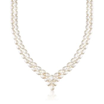 """6.5-7mm Cultured Pearl Two-Row V-Necklace in Sterling Silver. 18"""", , default"""