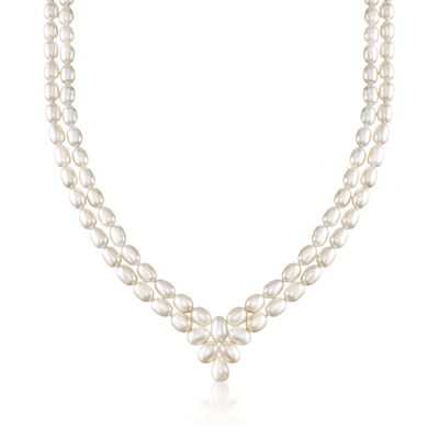 6.5-8mm Cultured Pearl Two-Row V-Necklace in Sterling Silver, , default