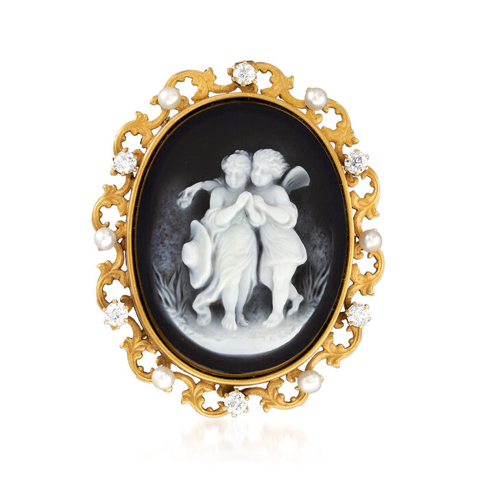 C. 1900 Vintage Blue Agate, 2.8mm Cultured Pearl and .50 ct. t.w. Diamond Cameo Pin in 12kt Yellow Gold