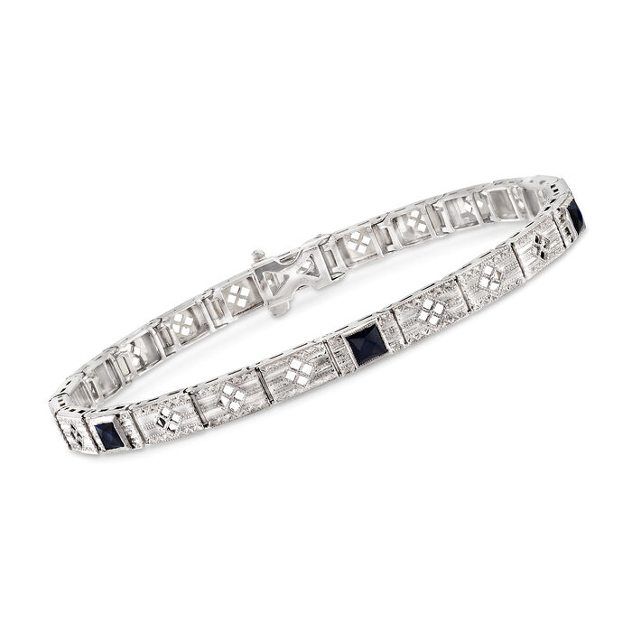 "C. 1990 Vintage .50 ct. t.w. Simulated Sapphire Bracelet in 14kt White Gold. 7"", , default"