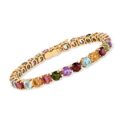 C. 1970 Vintage 19.35 ct. t.w. Multicolored Gemstone Bracelet in 18kt Rose Gold