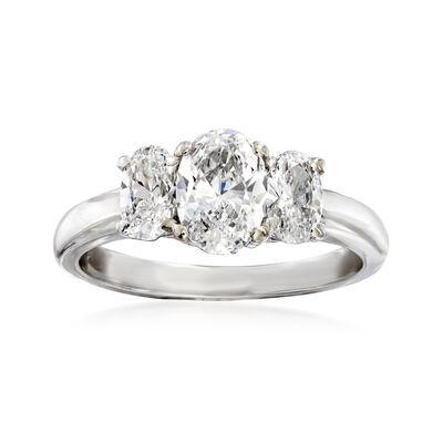 C. 2000 Vintage 1.48 ct. t.w. Diamond Three-Stone Ring in 14kt White Gold, , default