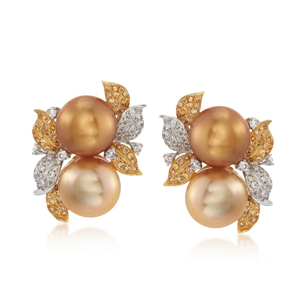 12 5mm Golden And Champagne Cultured South Sea Pearl Earrings With Yellow White Diamonds In