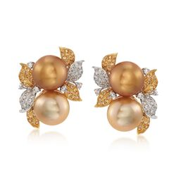 12.5mm Golden and Champagne Cultured South Sea Pearl Earrings With Yellow and White Diamonds in 18kt Two-Tone Gold, , default