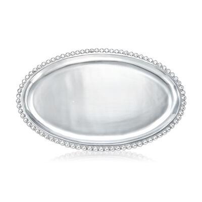 Mariposa Pearled Large Oval Platter, , default