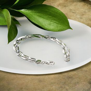 Italian Sterling Silver Braided Bracelet, , default