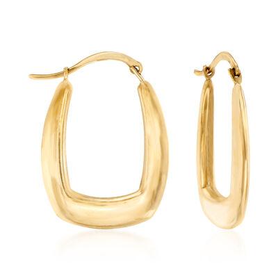C. 1990 Vintage 10kt Yellow Gold Squared Hoop Earrings