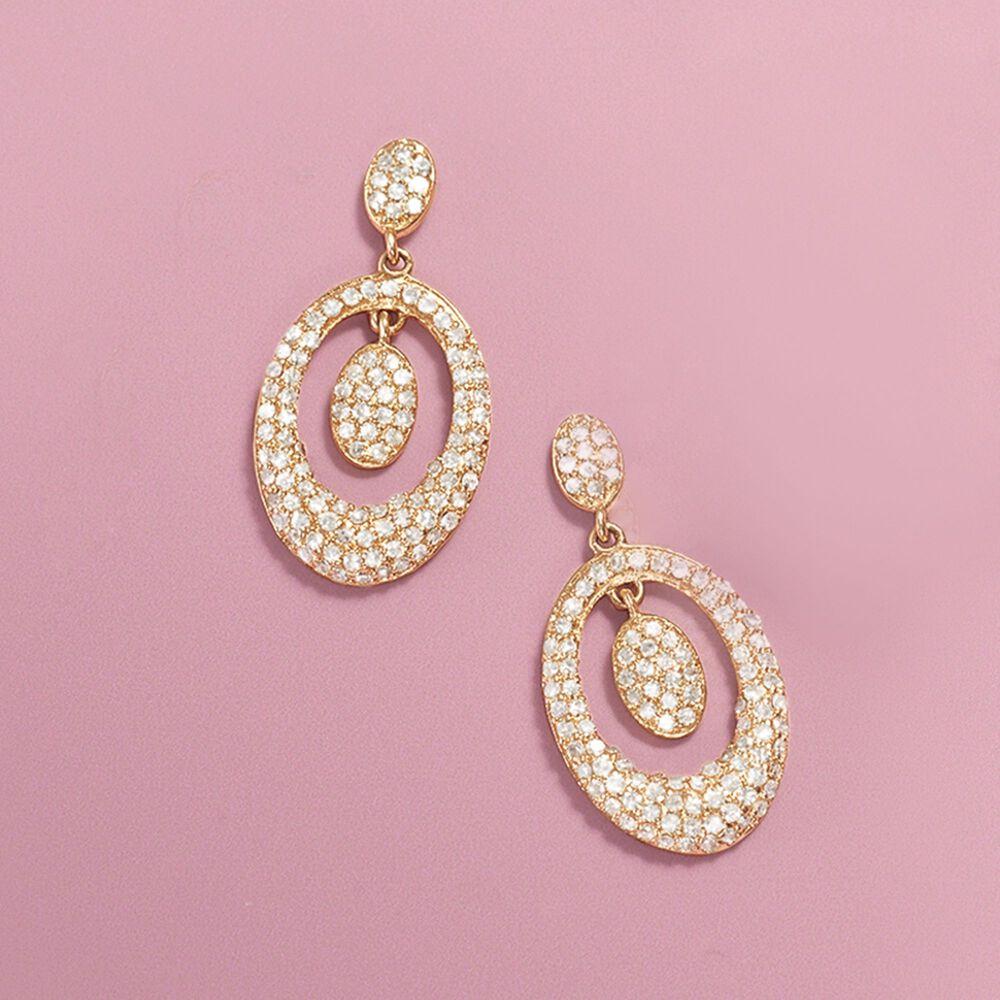 58 ct. t.w. Diamond Oval Drop Earrings in 14kt Yellow Gold | Ross Simons
