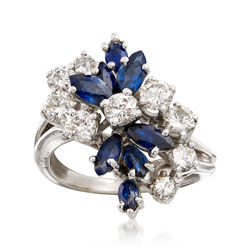 C. 1970 Vintage 1.60 ct. t.w. Sapphire and 1.25 ct. t.w. Diamond Cluster Ring in 14kt White Gold, , default