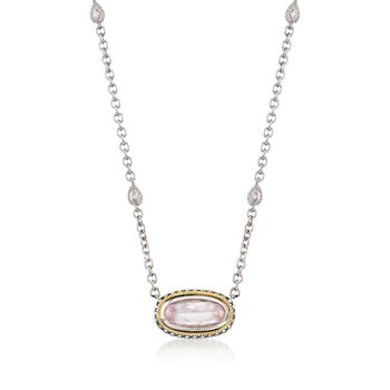 """Andrea Candela Rose Quartz Necklace With Diamond Accents in Sterling Silver and 18kt Gold. 17"""", , default"""